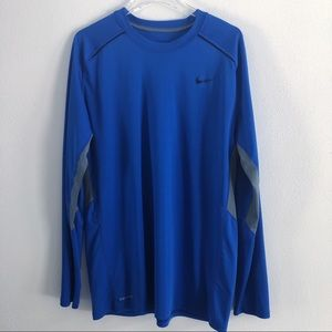 Nike Dri Fit Long Sleeve Active Blue Pullover XL